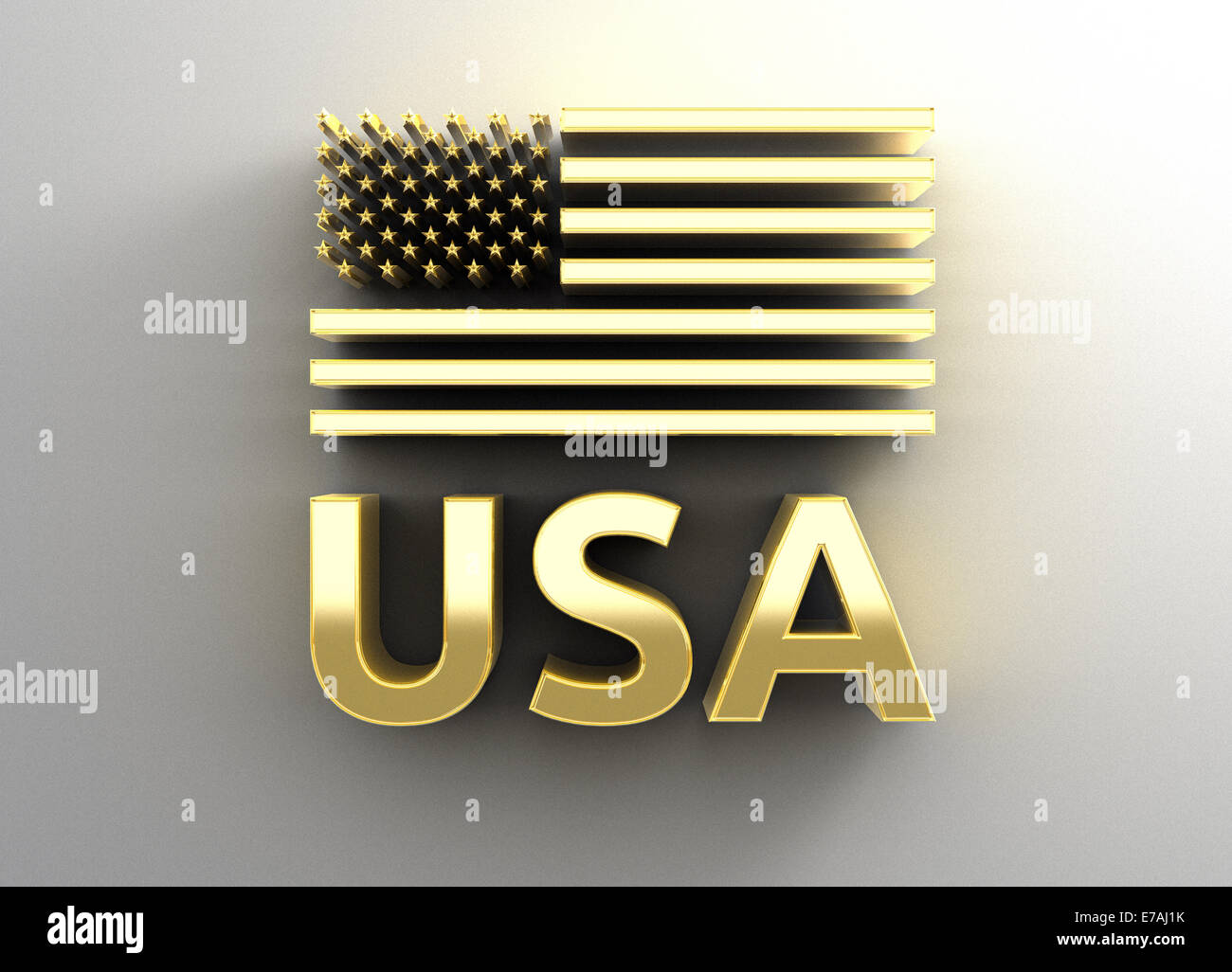 USA flag - gold 3D quality render on the wall background with soft shadow. - Stock Image