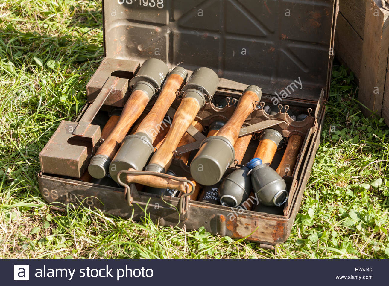 German grenades on show at a World War Two re-enactment - Stock Image