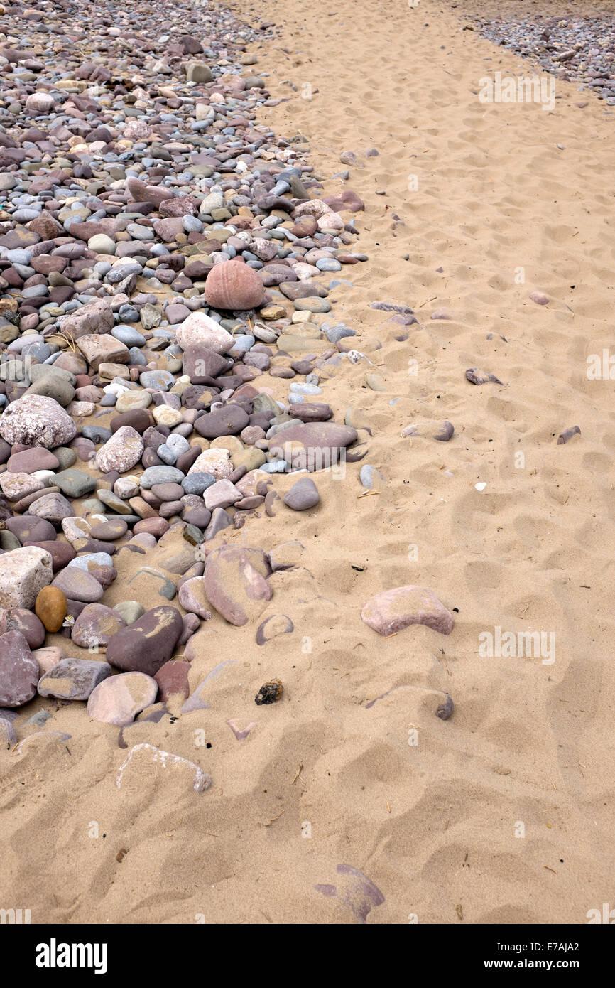 Sandy Path Through Rocky Beach Sand Rocks - Stock Image