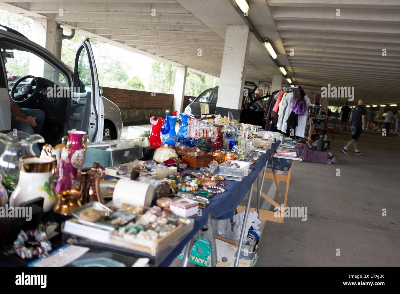Car Boot Sale in Multi Story Car Park Attic Junk Stock Photo ...
