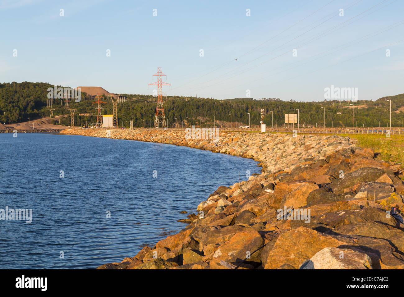 Part of the Canso Causeway linking Cape Breton to the Nova Scotia peninsula Stock Photo