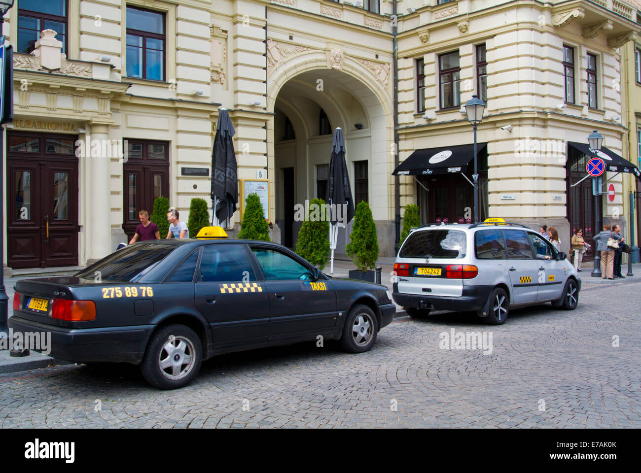 Taxis, old town, Vilnius, Lithuania, Europe Stock Photo