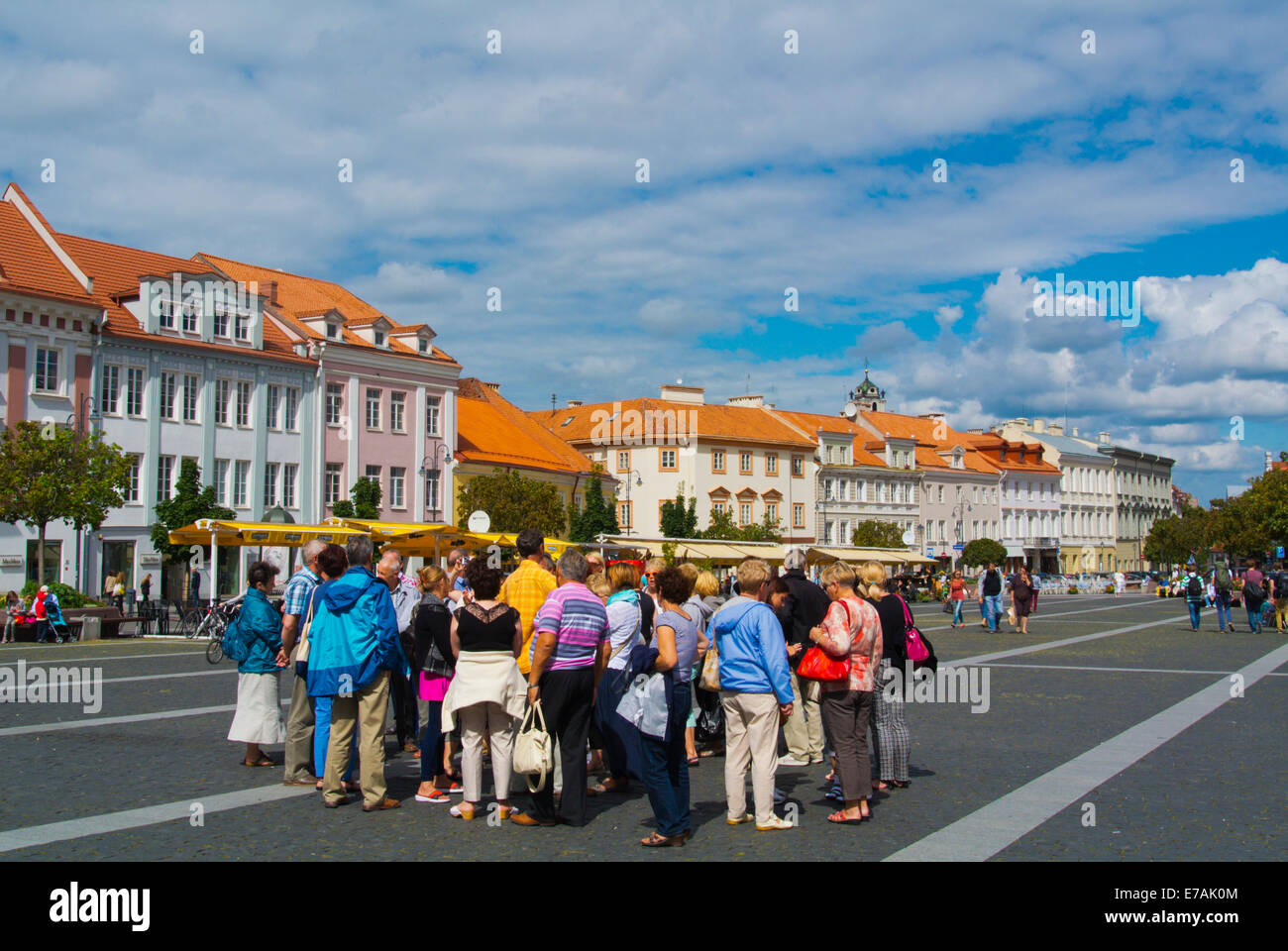 Guided tourist group, main square, old town, Vilnius, Lithuania, Europe - Stock Image