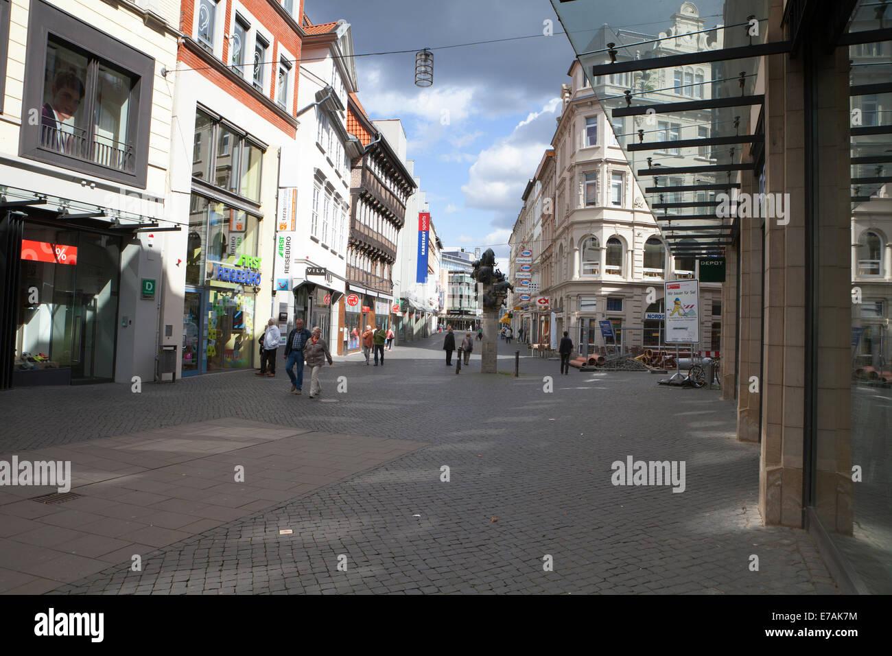 Pedestrian zone, Braunschweig, Brunswick, Lower Saxony, Germany, Europe, Stock Photo