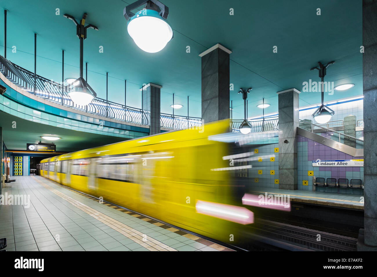 train at platform at Lindauer Allee subway station in Berlin Germany - Stock Image