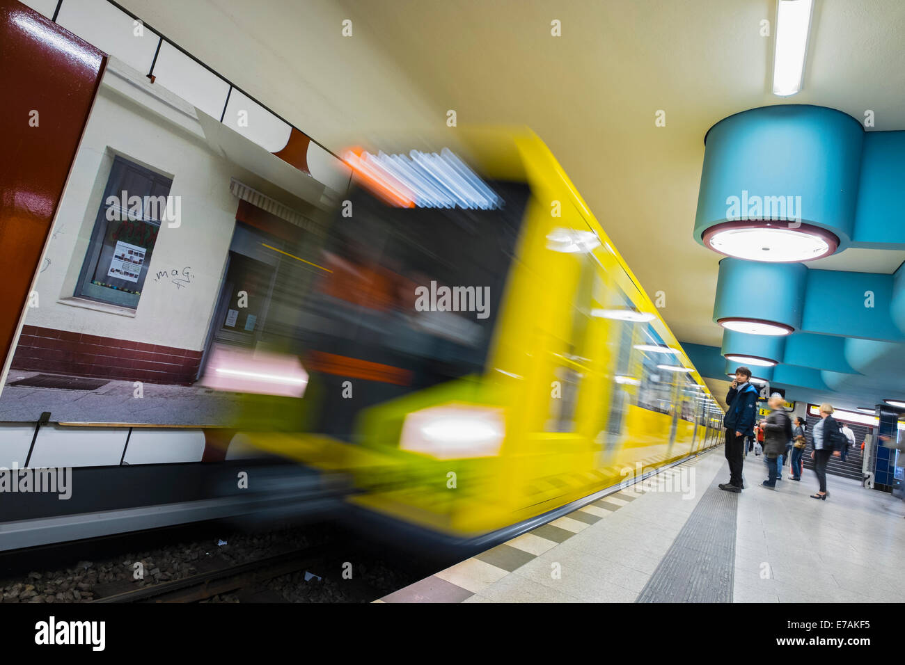 train at platform at Nauener Platz subway station in Berlin Germany - Stock Image