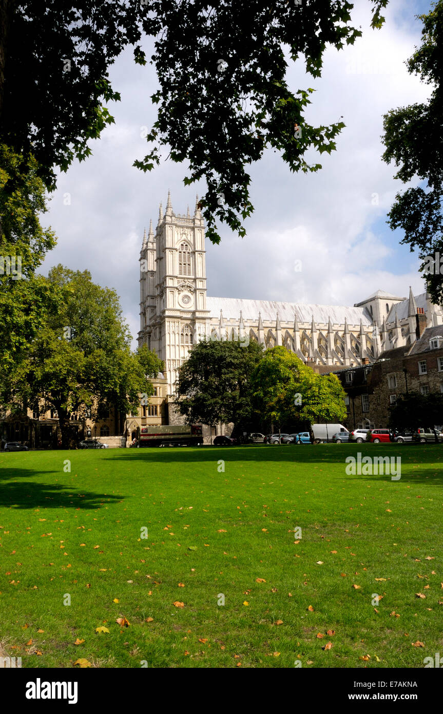 London, England, UK. Westminster Abbey seen from Dean's Yard - Stock Image