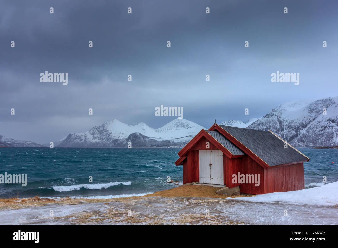 Rorbu in Lofoten islands in Norway - Stock Image