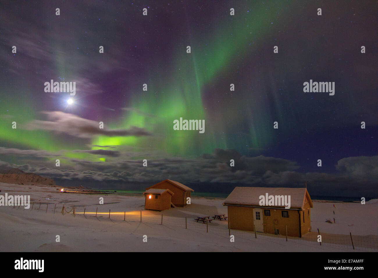 Northern lights on  the beach - Stock Image
