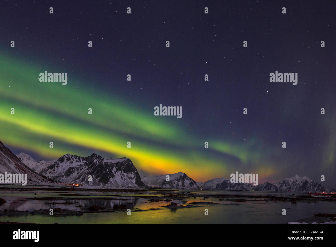 Northern lights on  the Norwegian fjords - Stock Image