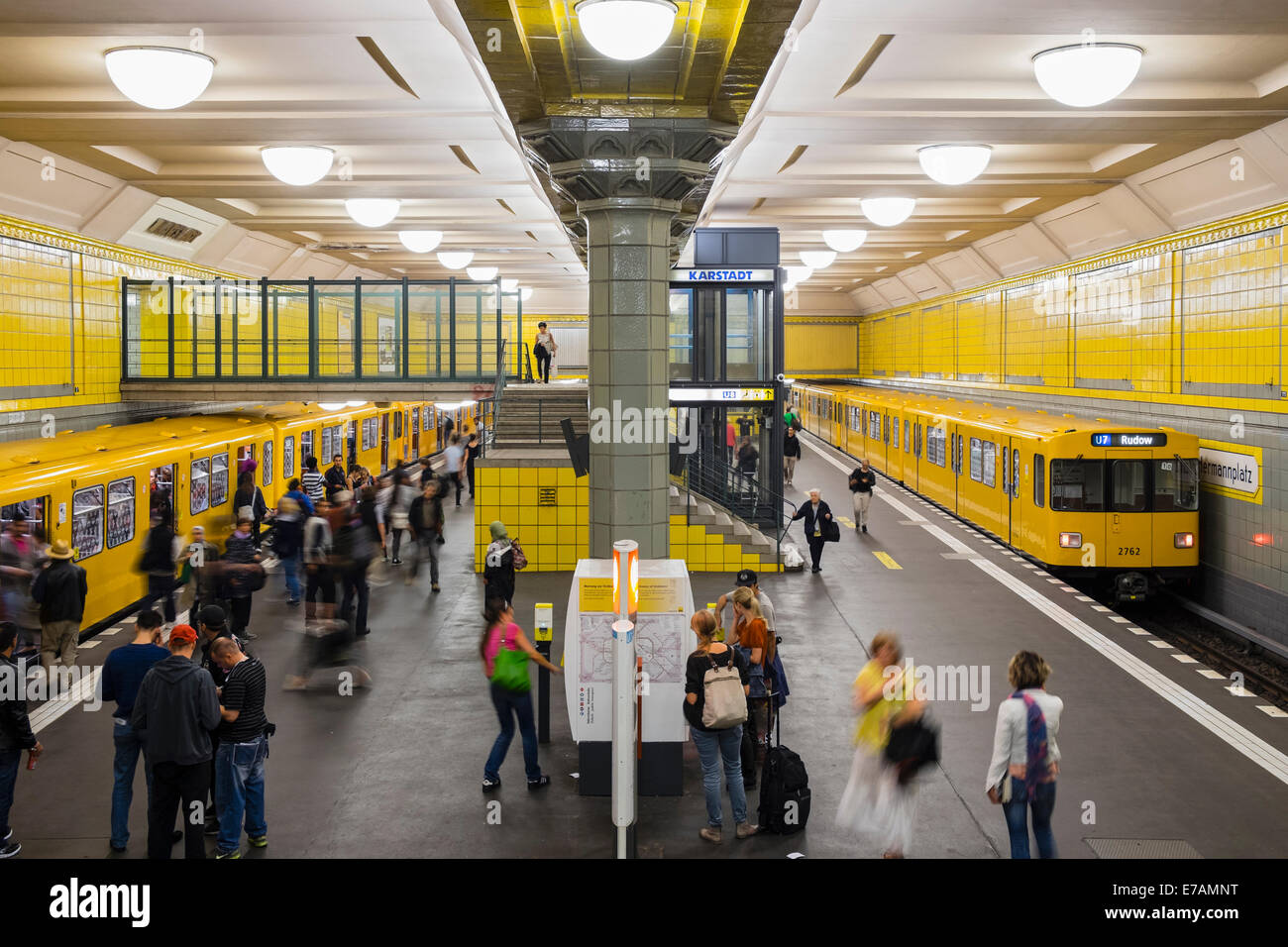train at platform at Hermannplatz subway station in Berlin Germany - Stock Image