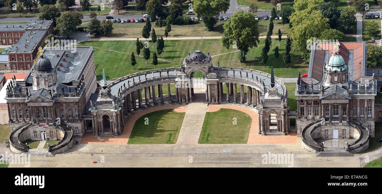 The colonnade (C) of the New Palace is seen from bird's eye view in Potsdam-Sanssouci, Germany, 08 September 2014. Stock Photo