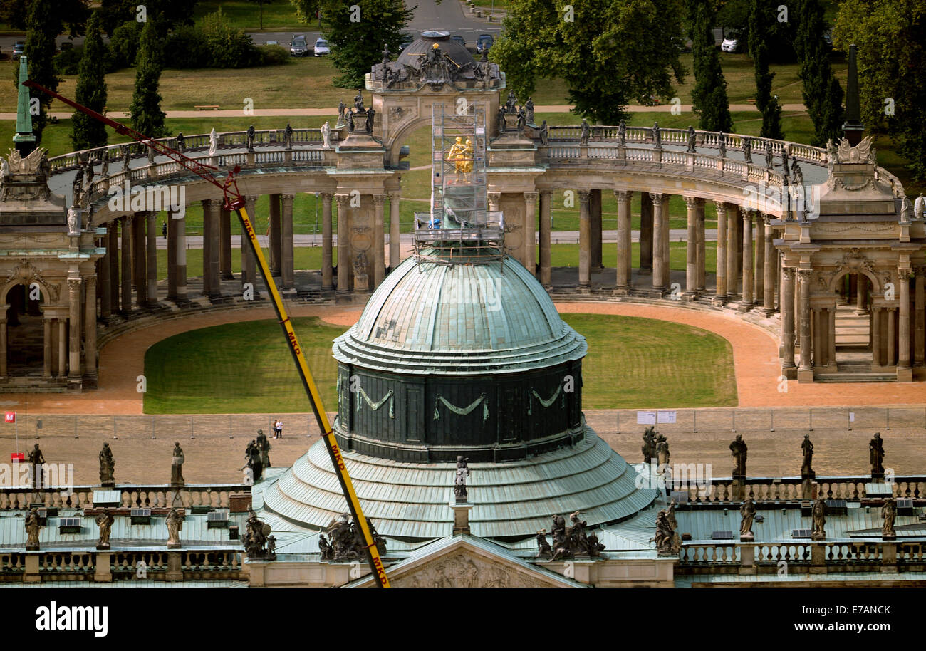 The colonnade (back) of the New Palace is seen from bird's eye view in Potsdam-Sanssouci, Germany, 08 September Stock Photo