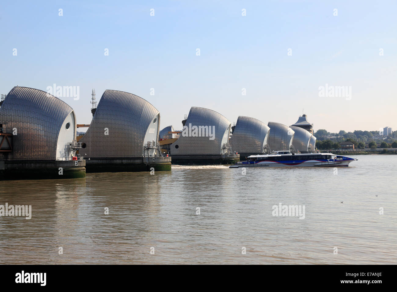 The Thames Barrier  Woolwich London - Stock Image