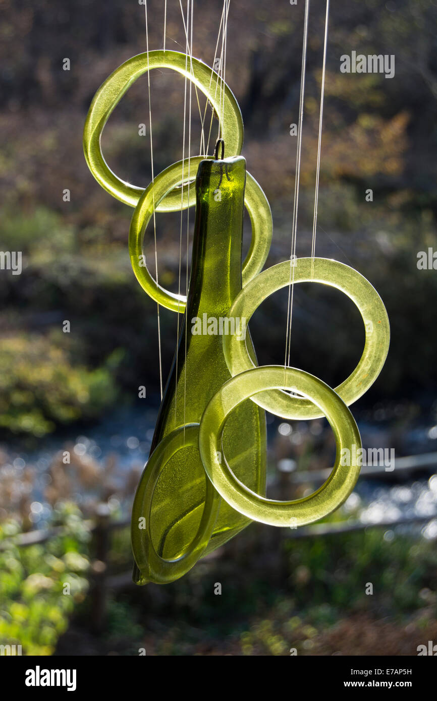 A glass wind chime - Stock Image