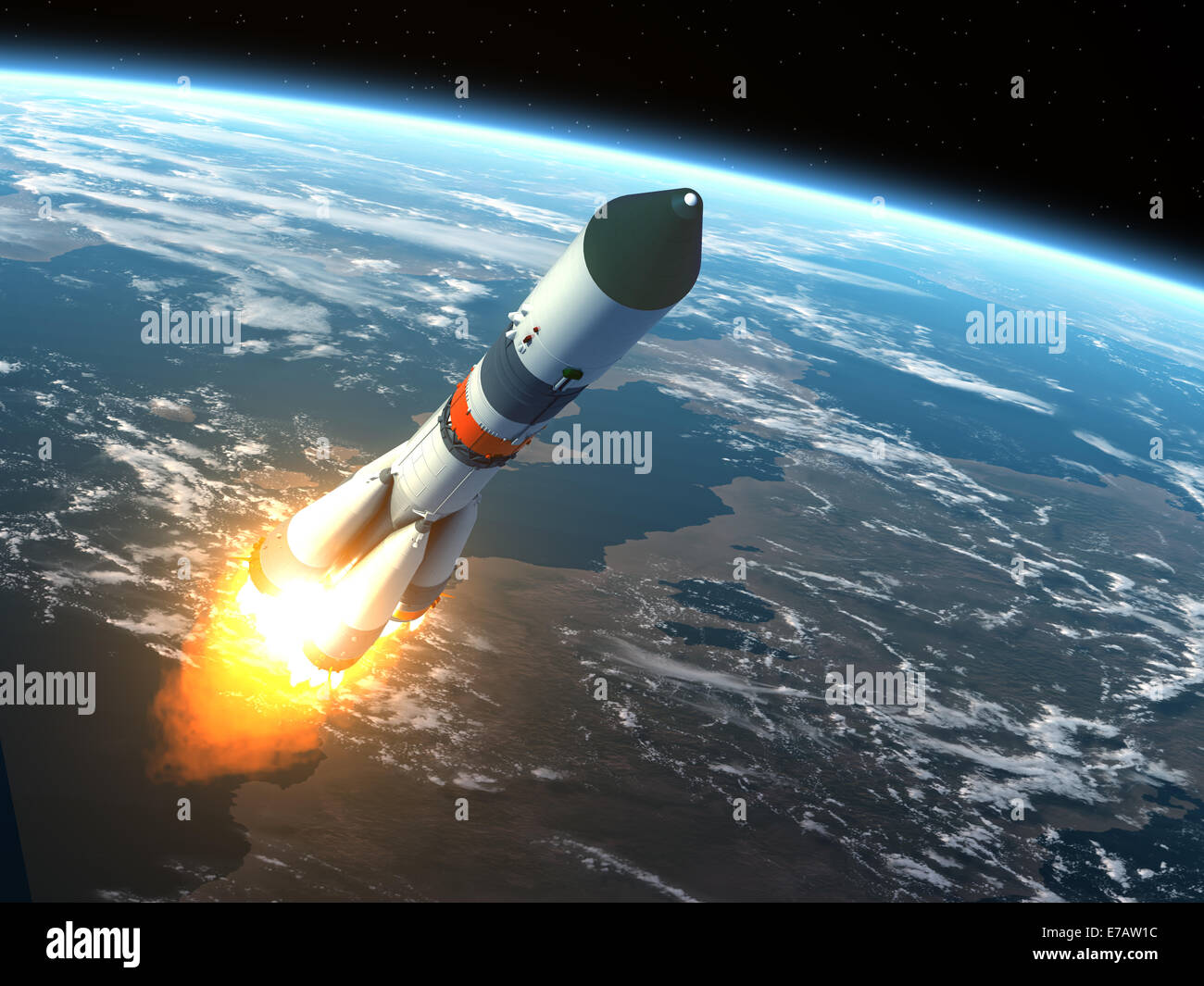 Cargo Rocket Takes Off - Stock Image