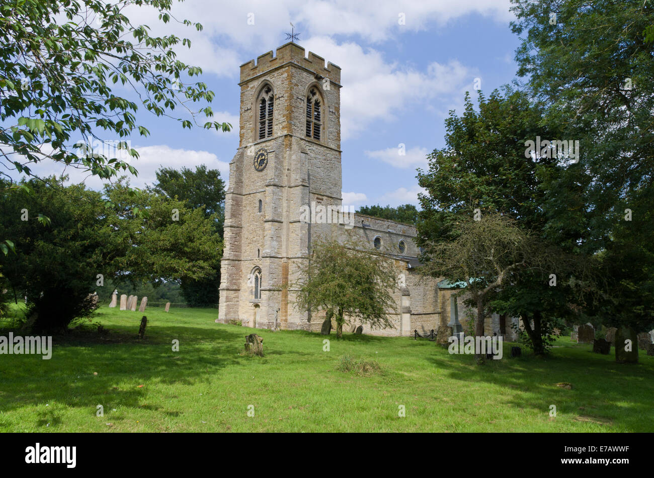 Church of St Mary the Virgin, Stoke Bruerne, UK - Stock Image