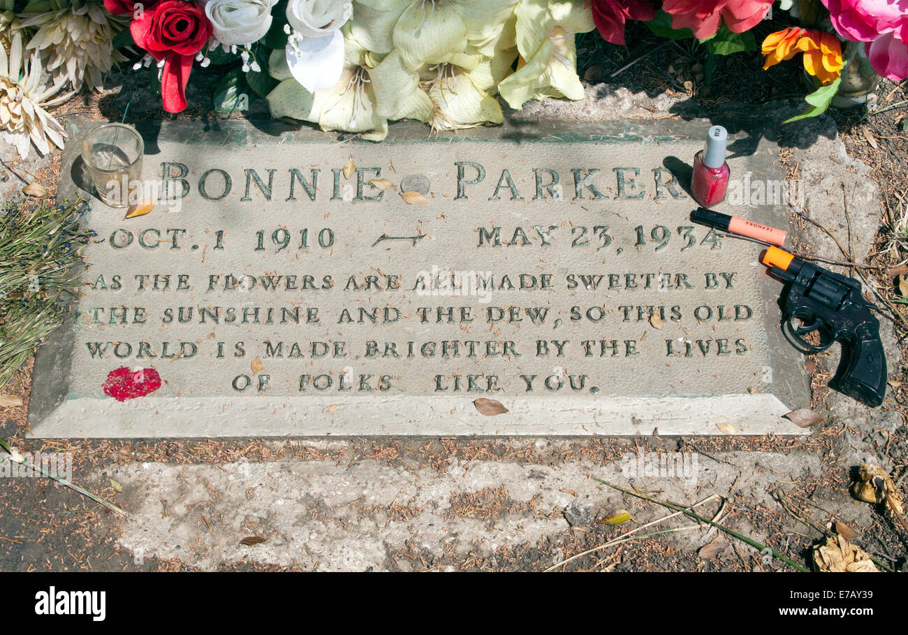 Bonnie Parkers grave in Dallas Texas - Stock Image