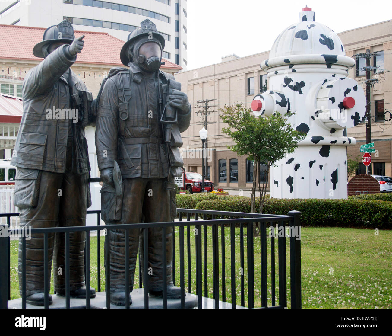 Firemen and Giant Dalmatian Fire Hydrant in Beaumont Texas - Stock Image