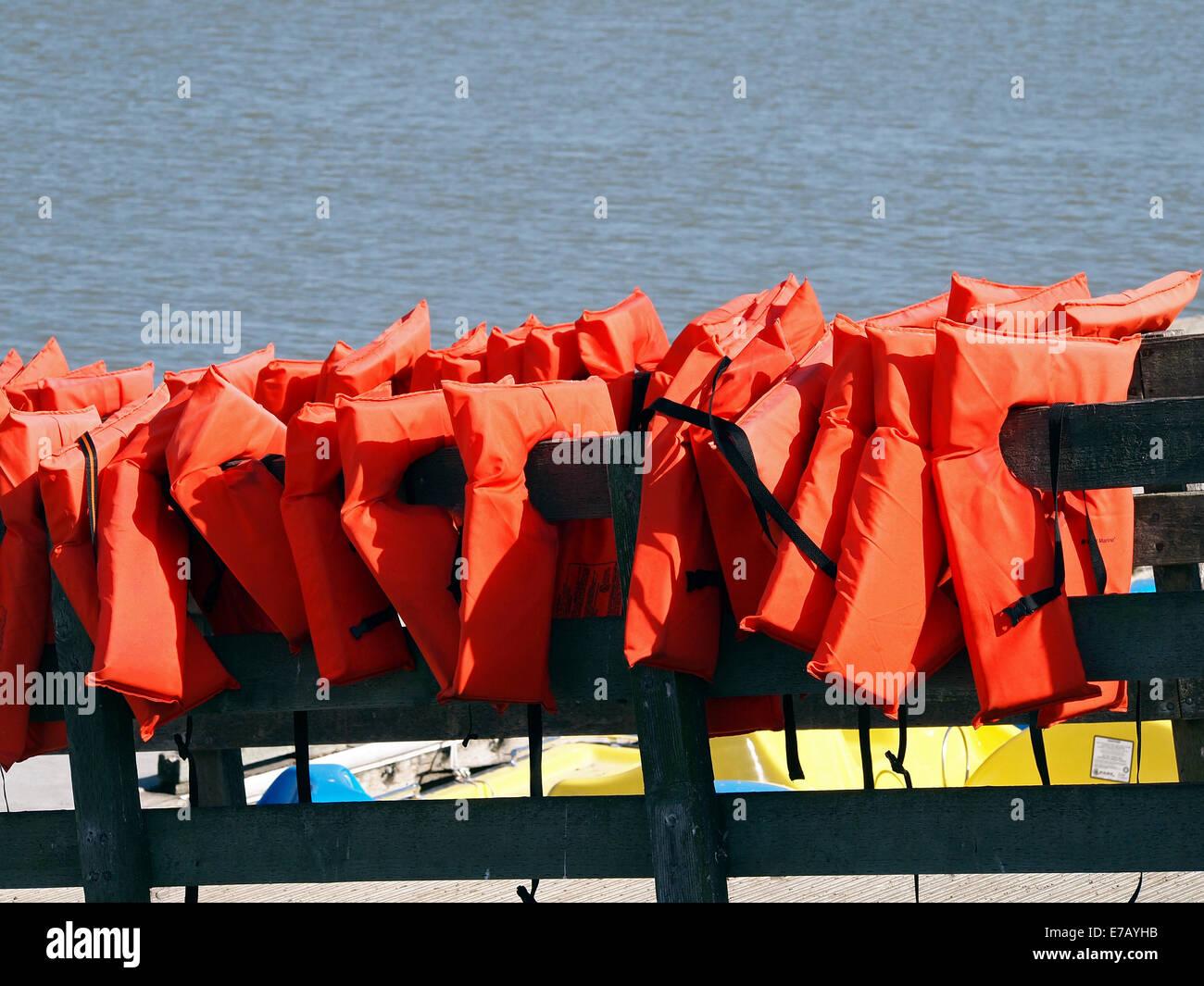 boating Life Vests Lake Elizabeth Fremont California - Stock Image