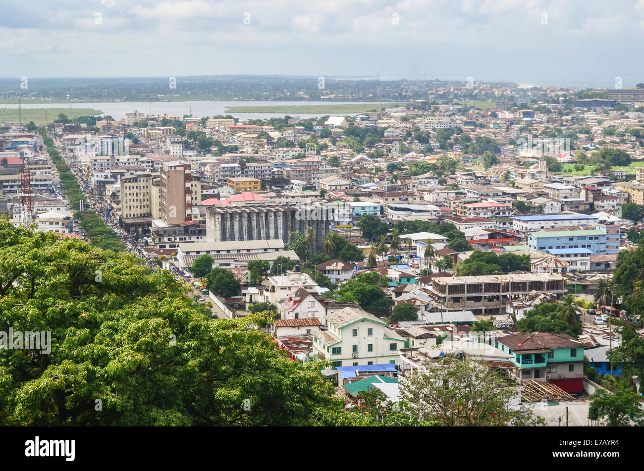 Aerial view of the city of Monrovia, Liberia, taken from the top of the ruins of Hotel Ducor, with the lagoon in - Stock Image
