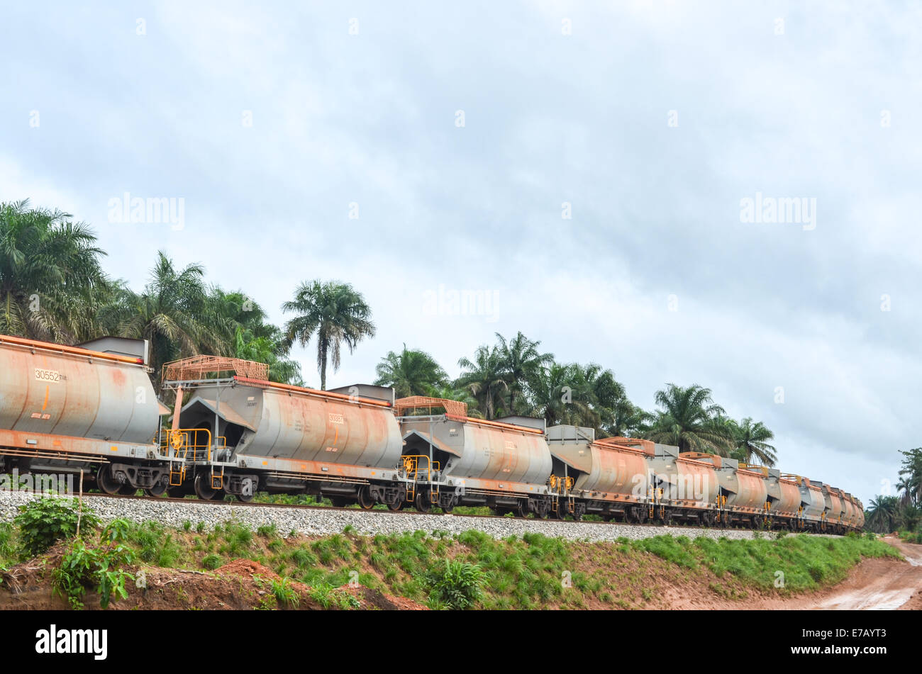 Freight train in Sierra Leone, between Port Loko and Lungi, illustrating the Chinese investment in Africa - Stock Image