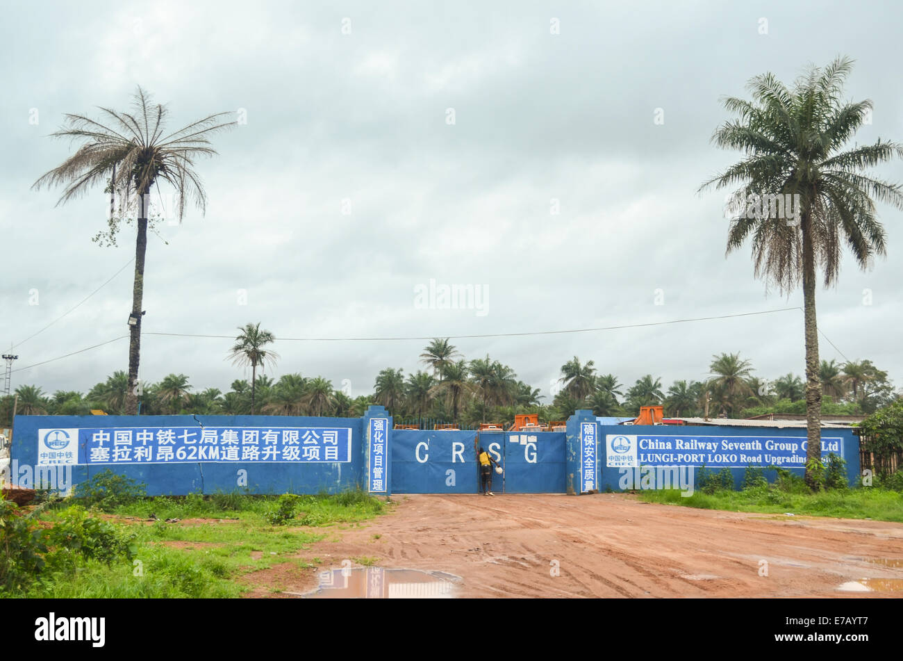 Chinese construction group, Sierra Leone, Africa. China Railway Seventh Group renovated the road and Lungi - Port - Stock Image