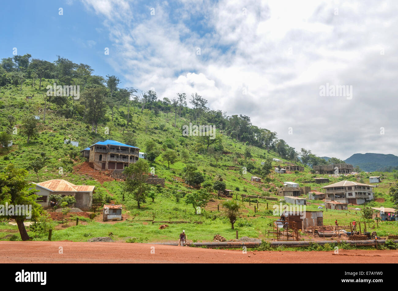 Houses in construction the Freetown peninsula, Sierra Leone - Stock Image
