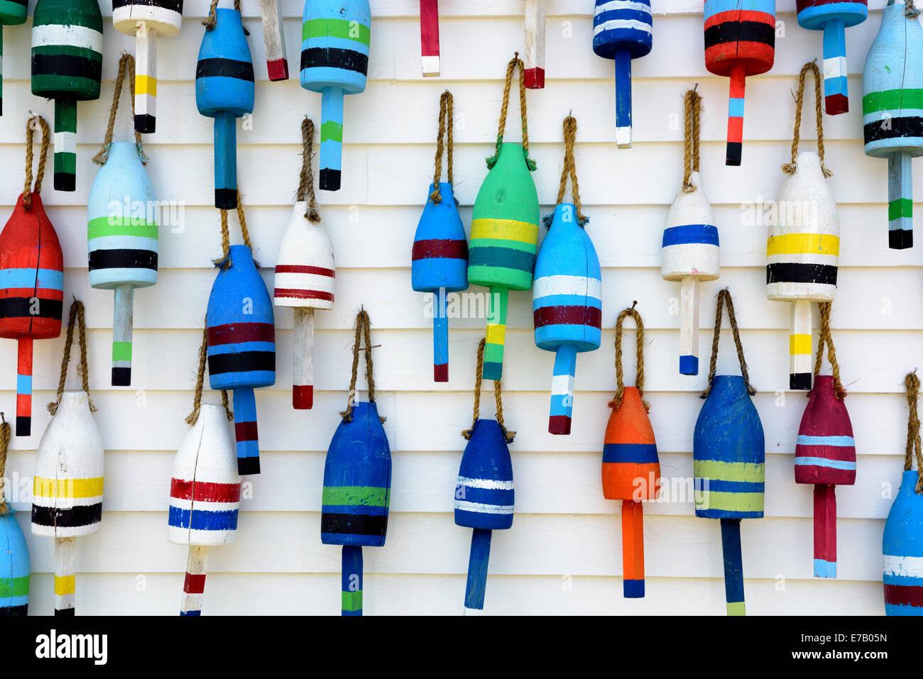 Hand Made Decorative Buoys Stonington Maine Usa Stock