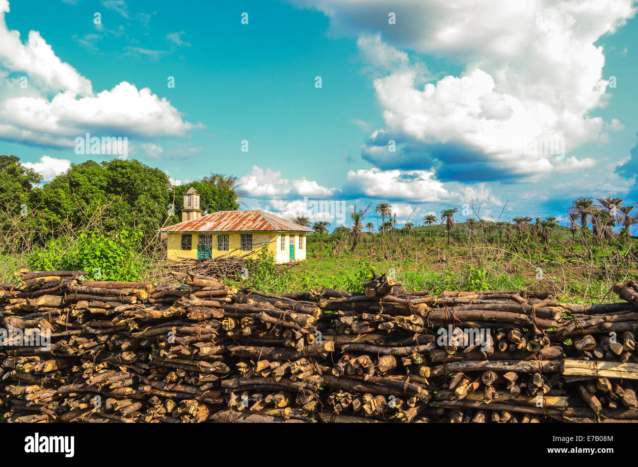 Piles of wood and a rural house in Sierra Leone, Africa - Stock Image