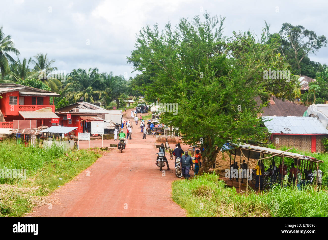 Small town of Potoru, in the east of Sierra Leone, not far from the border with Liberia - Stock Image