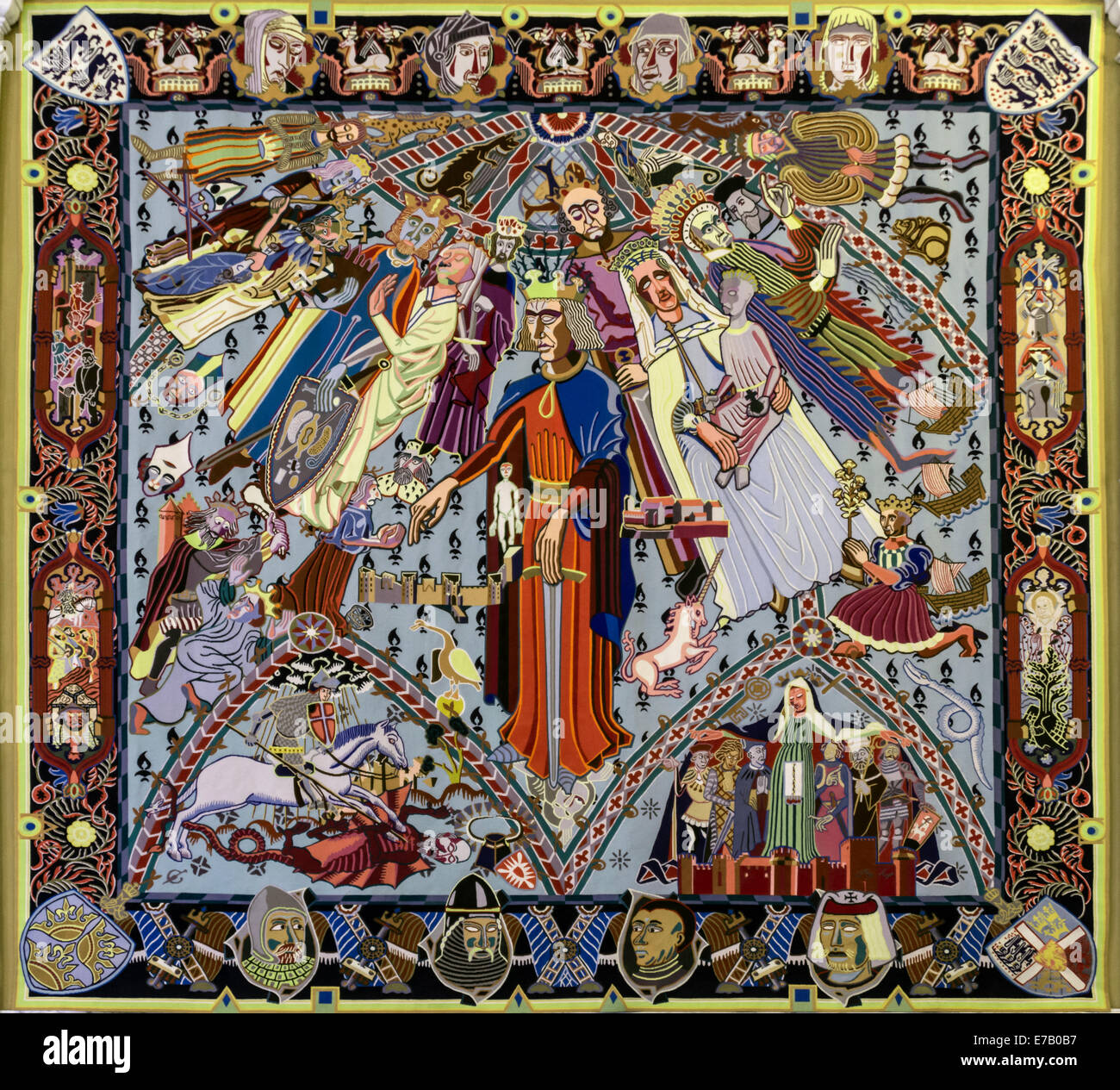 Bjorn Norgaard's tapestry 'Younger Middle Ages', Christiansborg Palace, Copenhagen, Denmark - Stock Image