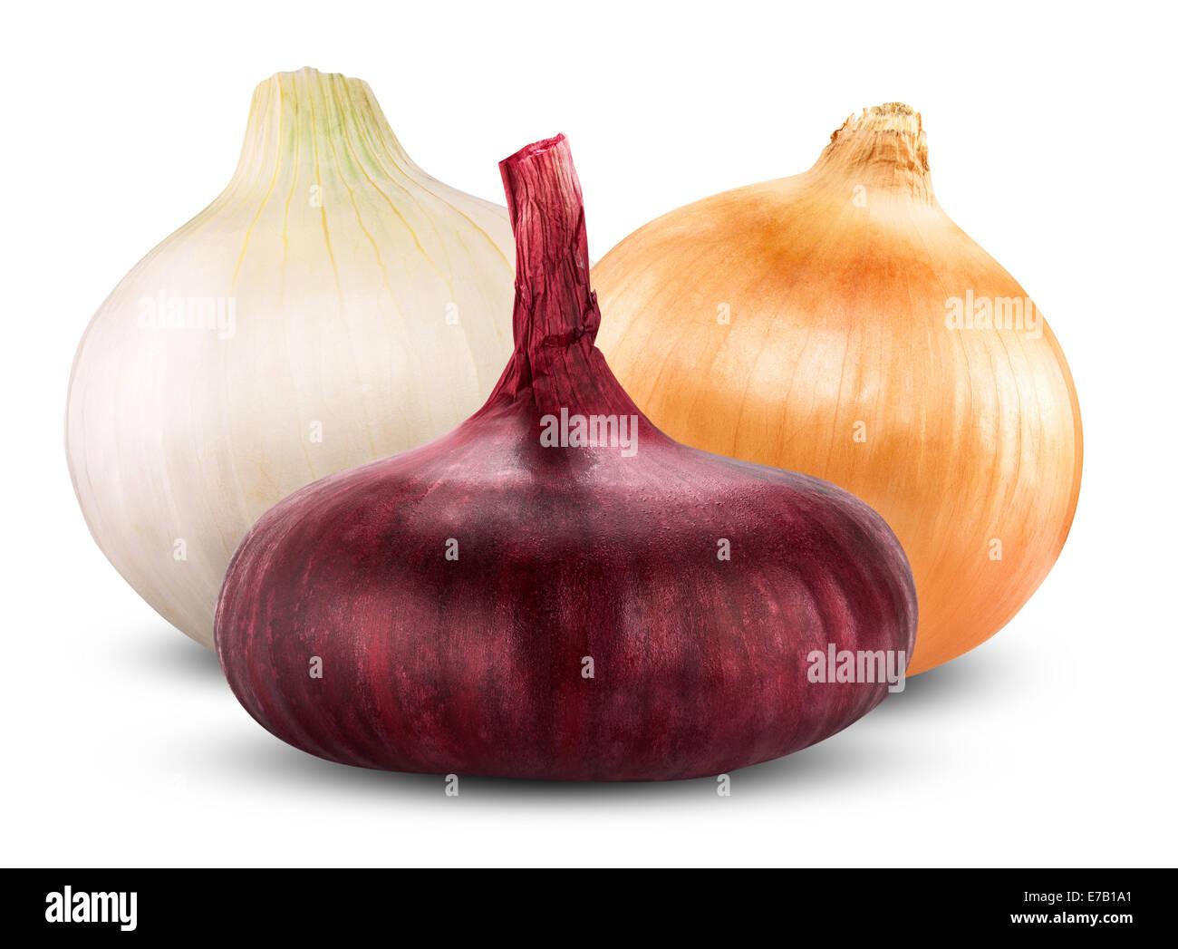 Fresh onion bulbs isolated on white background Stock Photo
