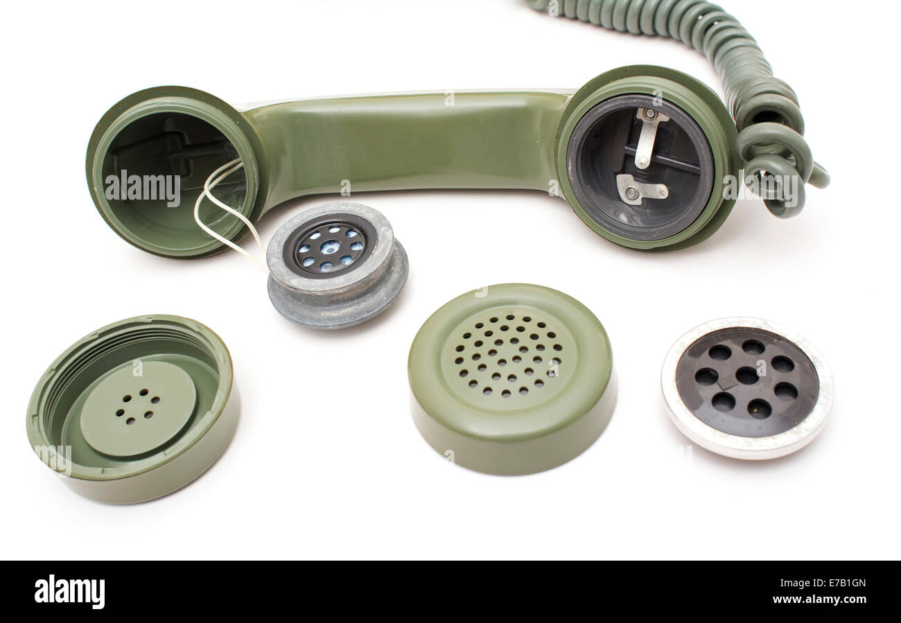 Parts of a handset, old telephone. - Stock Image