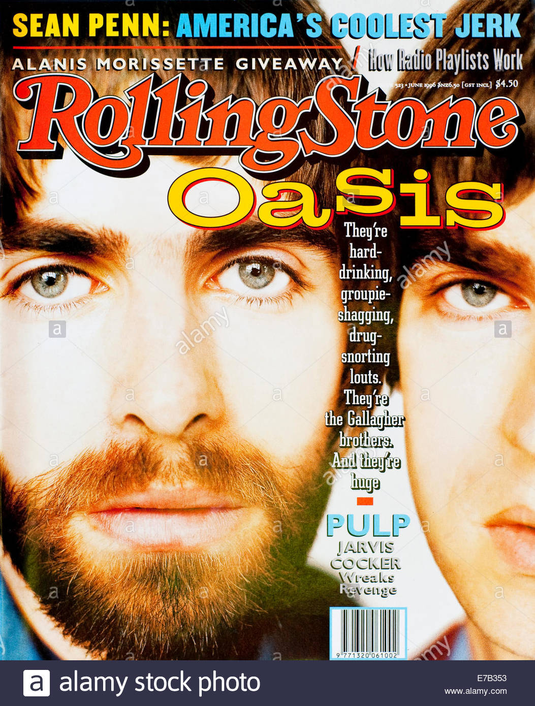 Rolling Stone Magazine (Australia) - June 1996, Liam & Noel Gallagher from Oasis - Stock Image