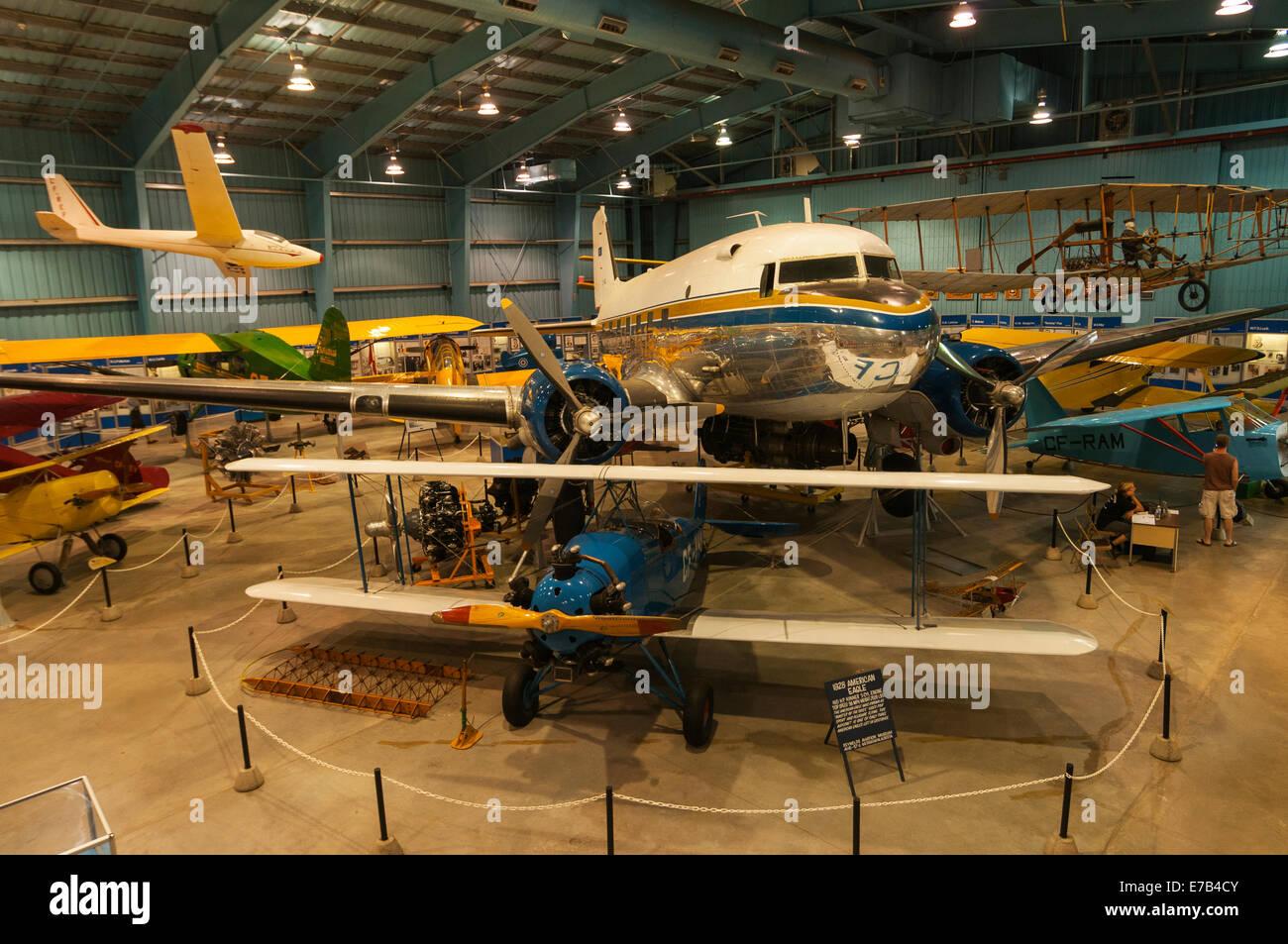 Elk203-5694 Canada, Alberta, Wetaskiwin, Reynolds-Alberta Museum, vintage airplanes, American Eagle - Stock Image