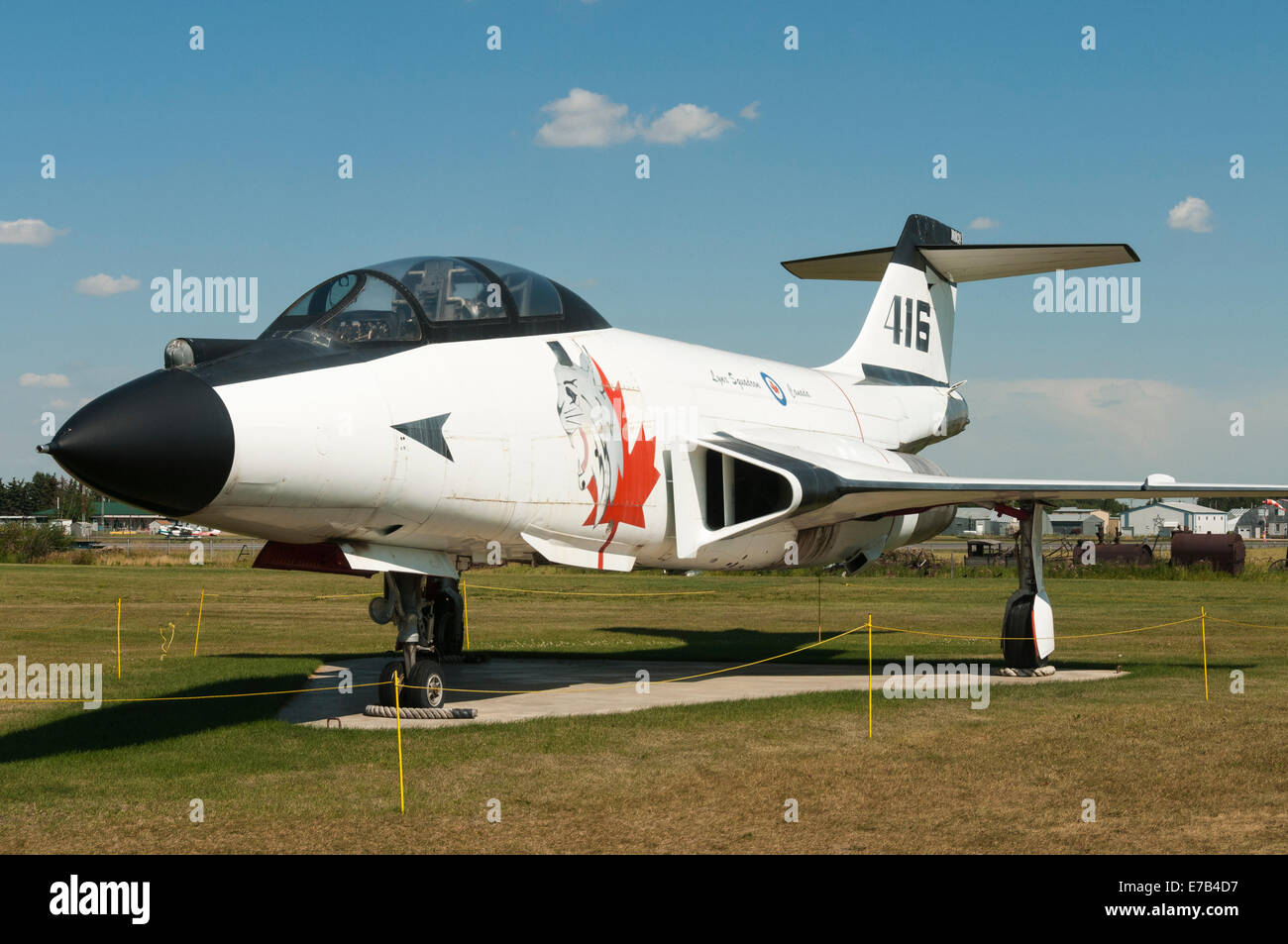 Elk203-5699 Canada, Alberta, Wetaskiwin, Reynolds-Alberta Museum, vintage fighter jets Stock Photo