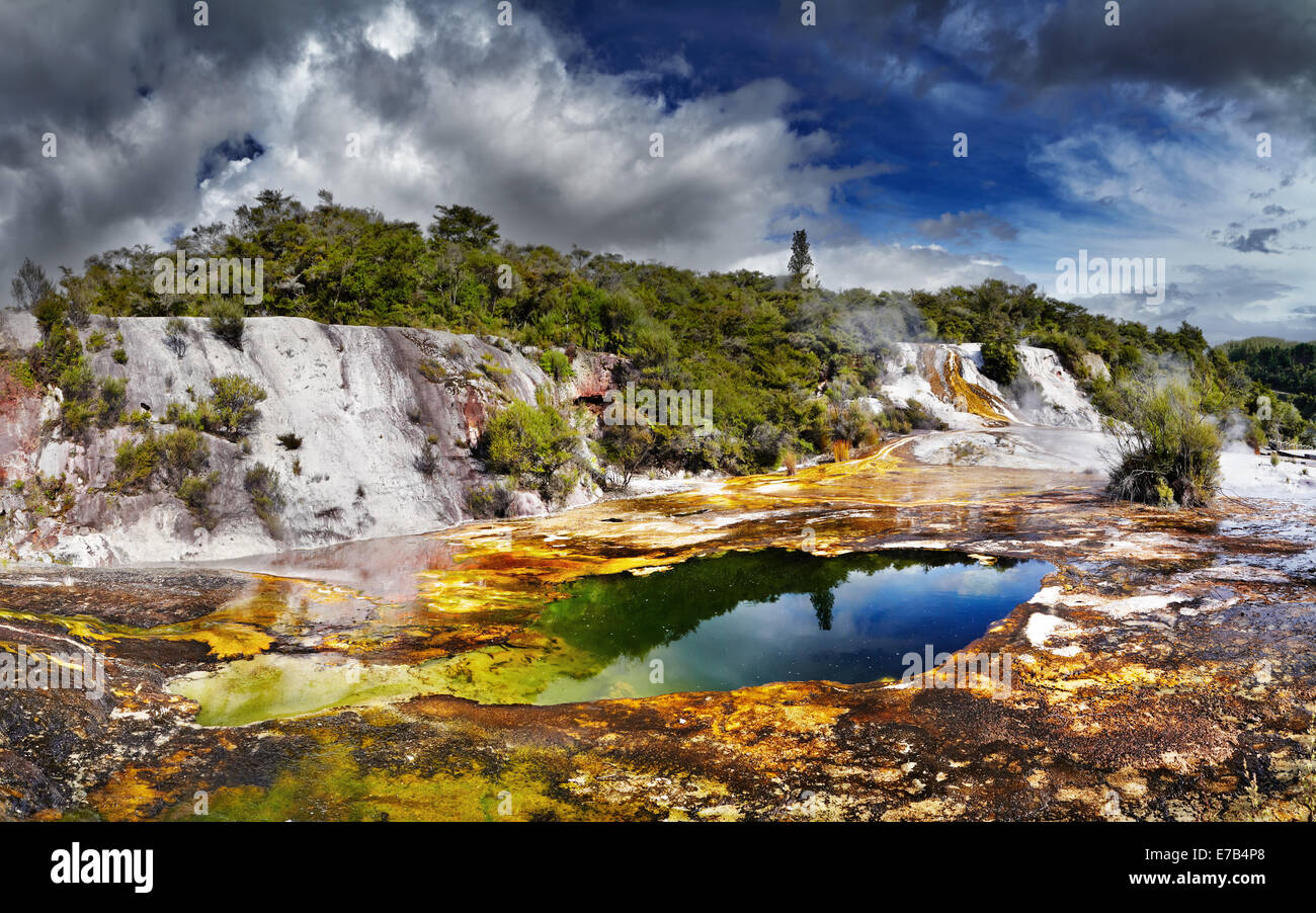 Orakei Korako geotermal area, New Zealand - Stock Image