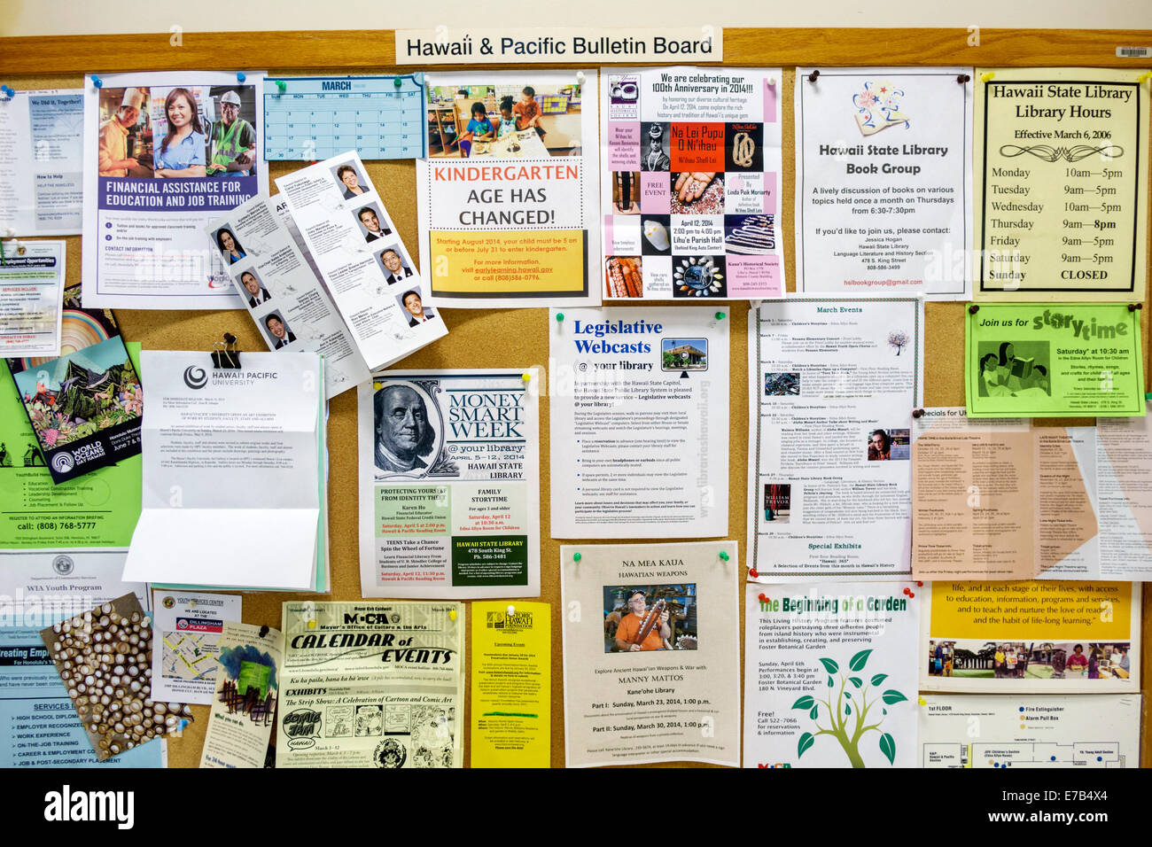 Hawaii Hawaiian Honolulu Hawaii State Library bulletin board announcements events community - Stock Image