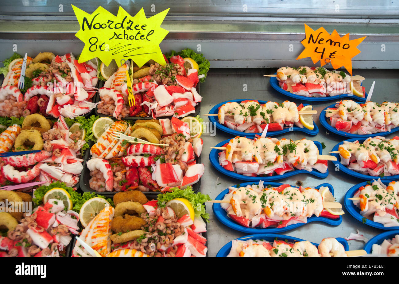 Seafood platters for sale in the North Sea port and seaside resort of Ostend, Belgium - Stock Image