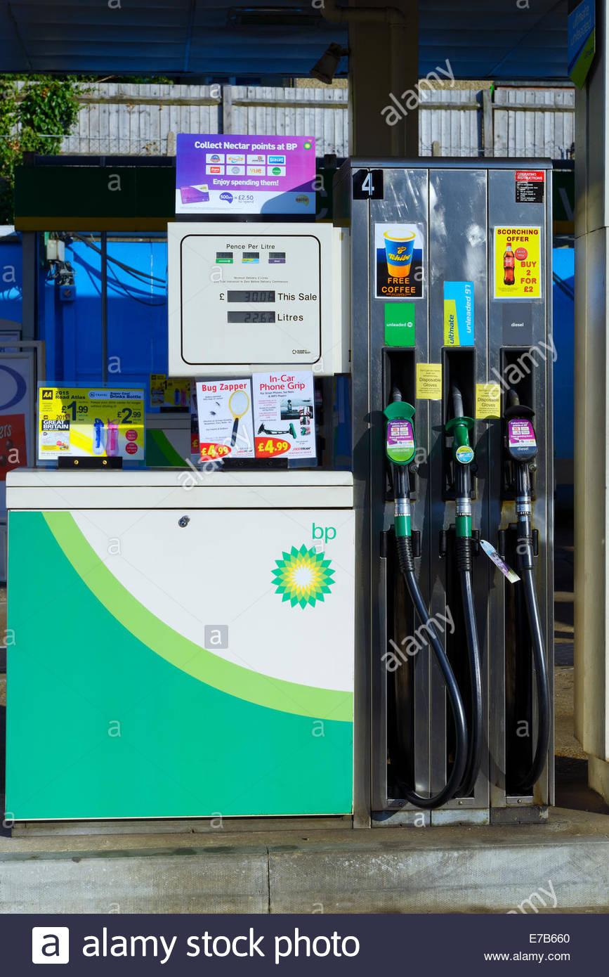 Petrol pump on BP forecourt, Dorking, Surrey, England UK Stock Photo