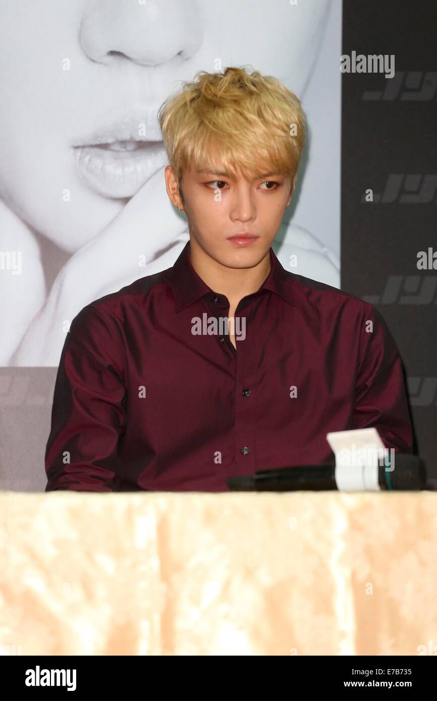Taipei, Taiwan, China. 11th September, 2014. JYJ attend the press conference to promote their last concert before - Stock Image
