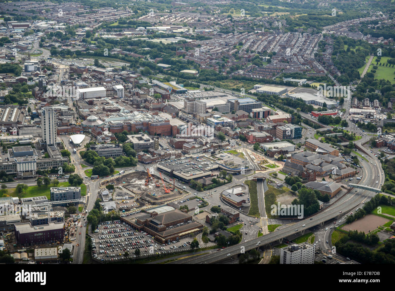 An aerial view of the centre of Oldham, Greater Manchester. - Stock Image