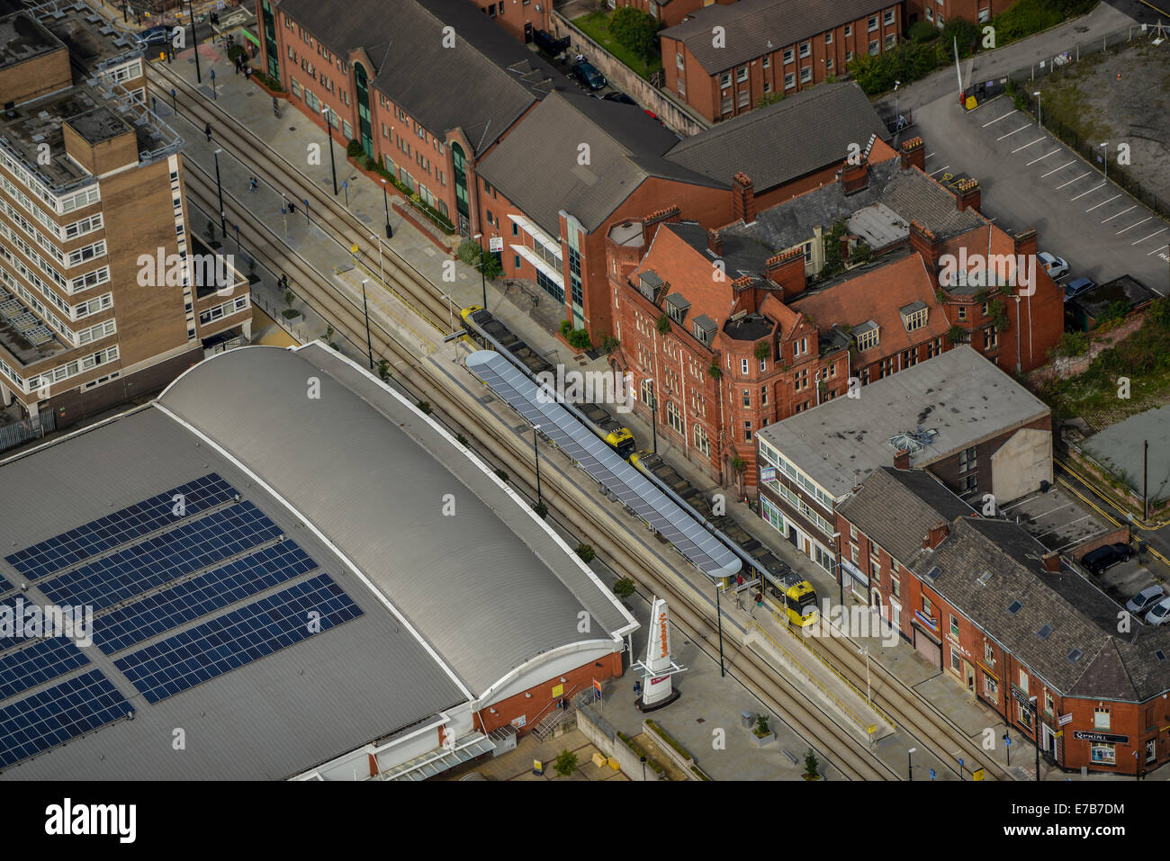 An aerial view of the Central Tram Station in Oldham, Greater Manchester - Stock Image