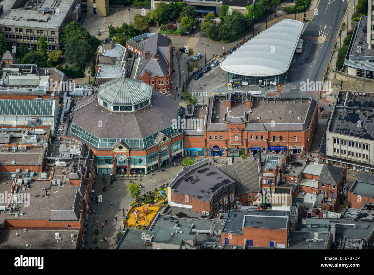 An aerial view of The Spindles, a Shopping Centre in Oldham, a town in Greater Manchester, UK. - Stock Image