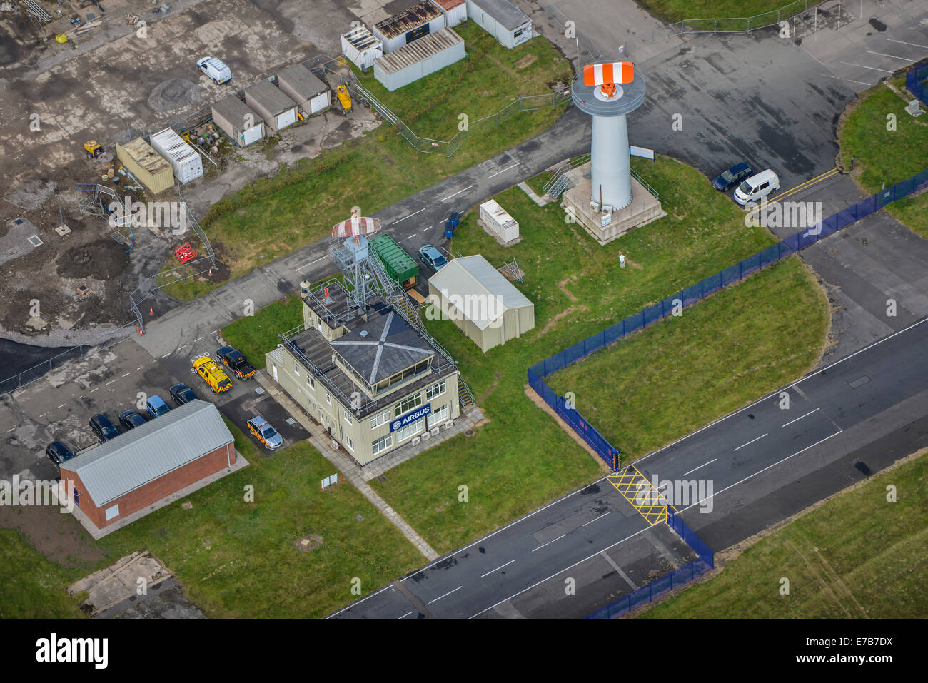 An aerial view showing a close up of the control tower at Hawarden Airport, home of the Airbus factory. Cheshire - Stock Image