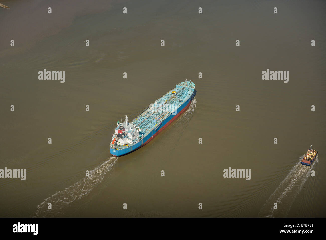 An aerial view of a bulk freighter in the River Mersey just off Birkenhead. - Stock Image