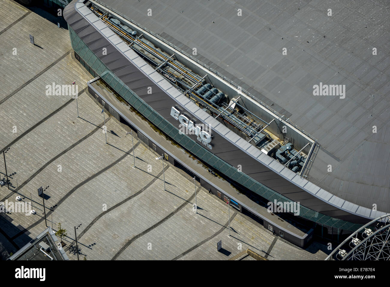 A close up aerial view of the Liverpool Echo Arena - Stock Image