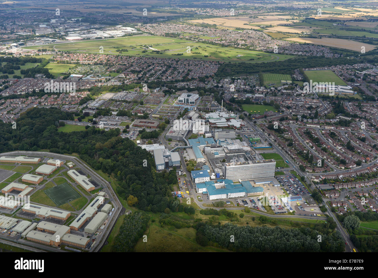 An aerial view of the Royal Liverpool University Hospital and surrounding area of Fazakerley - Stock Image