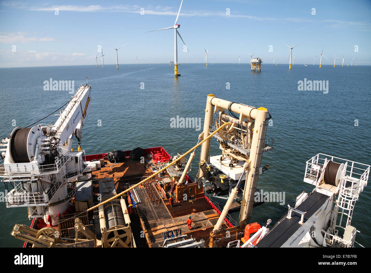 The back deck of the ROV/Cable Trenching vessel, Fugro Saltire, working on the Gwynt y Mor Offshore Wind Farm - Stock Image